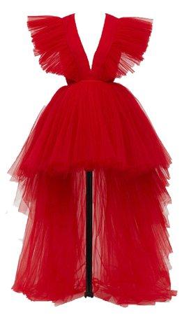 Giambattista Valli Red Tulle Dress