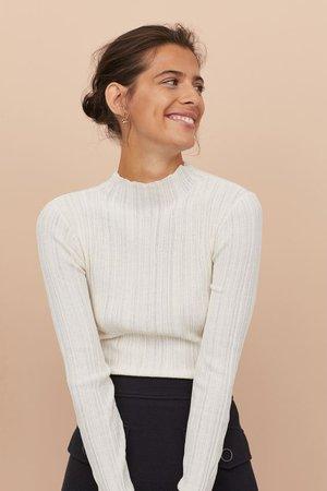 Ribbed Mock-turtleneck Sweater - White - Ladies | H&M US