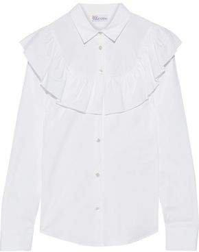 Ruffled Stretch-cotton Poplin Shirt