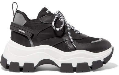 Nylon And Leather Sneakers - Black