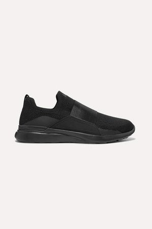 Techloom Bliss Mesh And Neoprene Slip-on Sneakers - Black