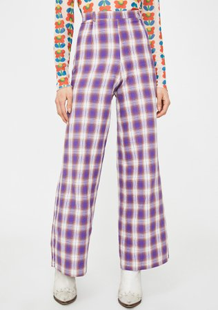 Alzang Wide Leg Check Print Trousers | Dolls Kill