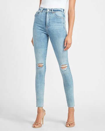 Super High Waisted Hyper Stretch Ripped Raw Hem Skinny Jeans