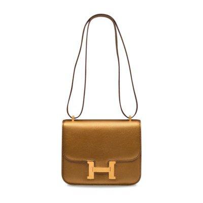 A RARE, METALLIC GOLD CHÈVRE LEATHER MINI CONSTANCE 18 WITH GOLD HARDWARE | HERMÈS, 2005 | 21st Century, bags | Christie's