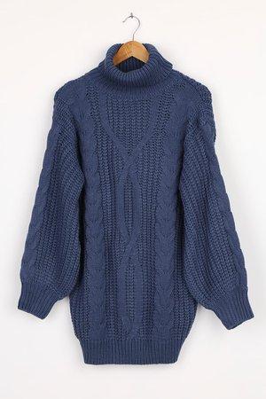 Denim Blue Dress - Cable Knit Dress - Mini Sweater Dress - Lulus