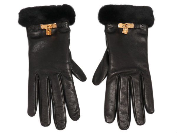Hermès Black Lambskin and Mink Princess Gloves - Ann's Fabulous Closeouts