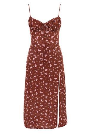 Clothing : Midi Dresses : 'Carina' Wine Floral Bustier Midi Dress