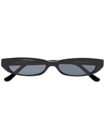 Roberi & Fraud Black Frances Rectangular Sunglasses - Farfetch