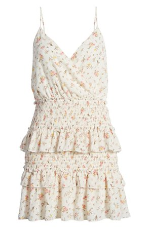 Row A Floral Tiered Smocked Minidress | Nordstrom