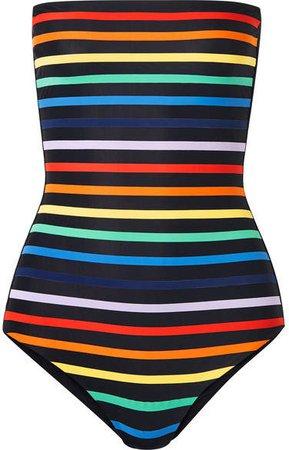 TM Rio - Paraty Striped Bandeau Swimsuit - Black