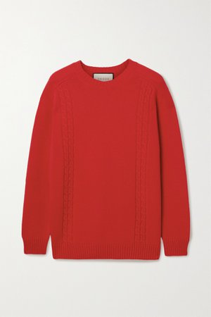 Red Oversized appliquéd cable-knit sweater   Gucci   NET-A-PORTER