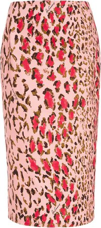 High-Waisted Leopard-Print Cotton-Blend Pencil Skirt