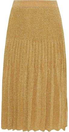 Pleated Metallic Crochet-knit Skirt