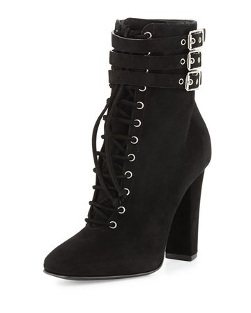 Giuseppe Zanotti Suede Lace-Up High-Heel Bootie, Black (Nero)
