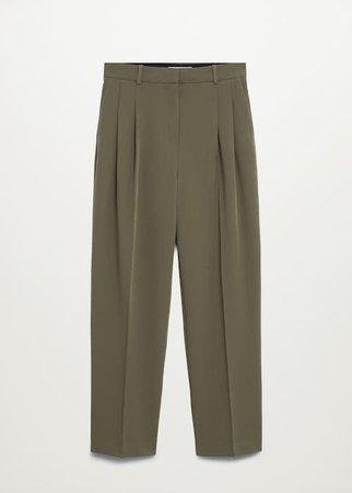Pleat straight trousers - Women | Mango USA