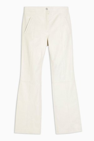 IDOL White Leather Snake Flare Trousers | Topshop