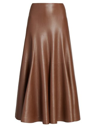 Shop Chloé Leather A-Line Midi Skirt up to 70% Off | Saks Fifth Avenue