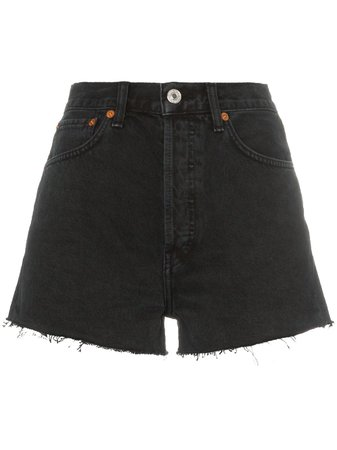 Re/Done Short En Jean à Bords Frangés - Farfetch