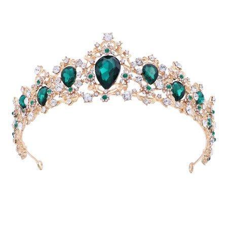 Amazon.com Frcolor Royal Crystal Tiara Green Rhinestone Queen Tiara Wedding Crown Princess Hair Accessories for Bridal (Emerald Color)
