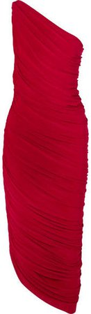 Diana One-shoulder Ruched Stretch-jersey Dress - Red
