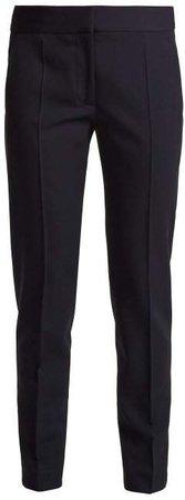 Zip Hem Skinny Wool Trousers - Womens - Navy