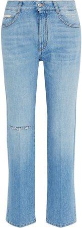 Distressed Mid-rise Straight-leg Jeans