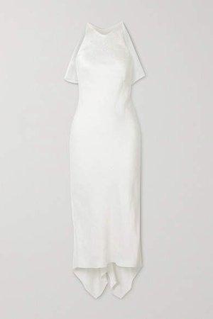 Satin-jacquard Midi Dress - Ivory