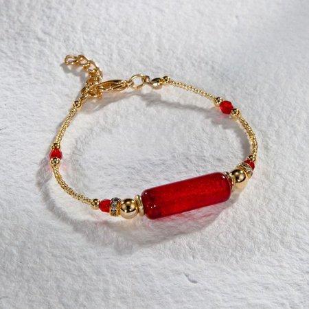 Venetian Glass Red Bar Bracelet | Venetian Glass Bracelet | Uno Alla Volta