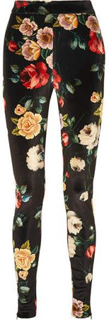 Floral-print Stretch-velvet Leggings - Black