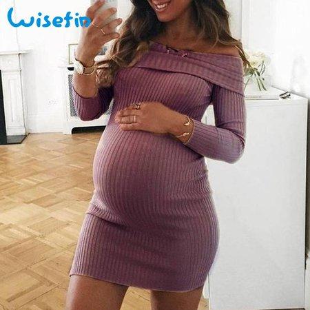 Off Shoulder Maternity Dresses Long Sleeve Pregnancy Clothes Autumn Pregnancy Dress Pregnant Sweater Dress vestidos robe P30-in Dresses from Mother & Kids on Aliexpress.com | Alibaba Group