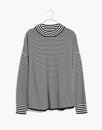 Stripe-Mix Ashbury Mockneck Sweater