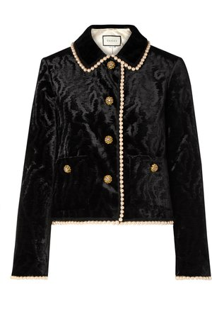 Gucci | Faux pearl and Swarovski crystal-embellished devoré-velvet jacket | NET-A-PORTER.COM