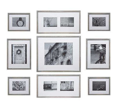 GALLERY PERFECT 9 Piece Black Wood Photo Frame Wall Gallery Kit #14FW1019. Includes: Frames, Hanging Wall Template, Decorative Art Prints and Hanging Hardware: Amazon.ca: Home & Kitchen