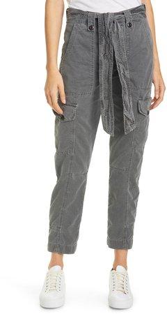 Sash Belt Cotton Cargo Pants