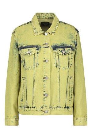 Lime Acid Wash Denim Jacket Yellow | Boohoo