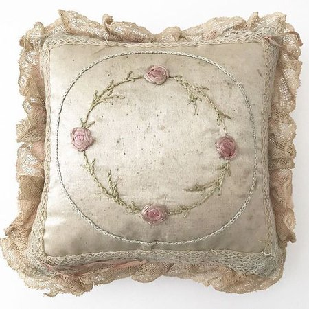dreamylaces: vintage embroidered pillow - Magical Forest Fairy