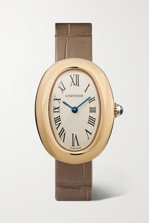 Gold Baignoire 1920 26mm small 18-karat gold and alligator watch | Cartier | NET-A-PORTER