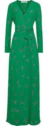 Peggy Printed Crepe De Chine Maxi Wrap Dress