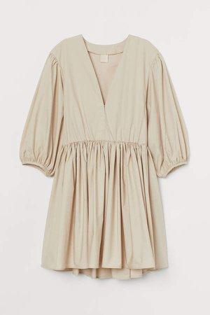V-neck Taffeta Dress - Beige