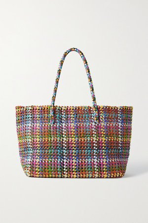 Flower Woven Leather Tote - Blue