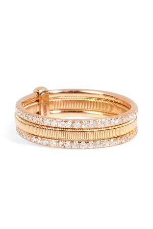 18kt Pink Gold Triple Bond Band with White Diamonds Gr. One Size