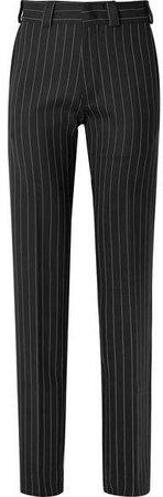 Pinstriped Wool-blend Straight-leg Pants - Black