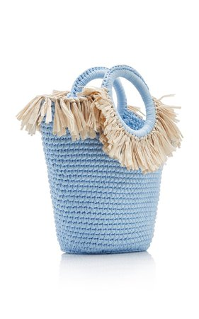 Sun Bag Mini Raffia-Cotton Tote by Mizele | Moda Operandi