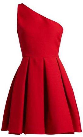 One Shoulder Wool Blend Skater Dress - Womens - Red