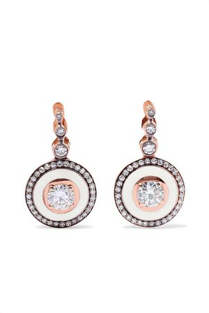 Selim Mouzannar | 18-karat rose gold, enamel and diamond earrings | NET-A-PORTER.COM