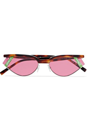 Fendi | Gentle Fendi cat-eye tortoisehell acetate and silver-tone sunglasses | NET-A-PORTER.COM