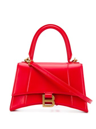 Shop red Balenciaga Hourglass S tote bag with Express Delivery - Farfetch