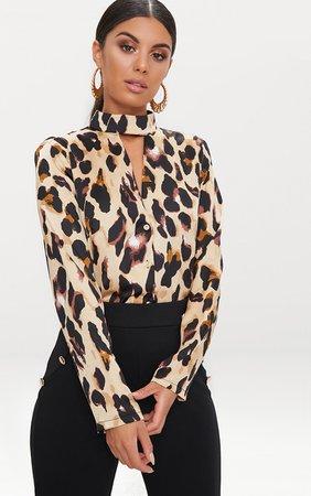 Tan Silky Leopard Print Choker Detail Blouse   PrettyLittleThing USA