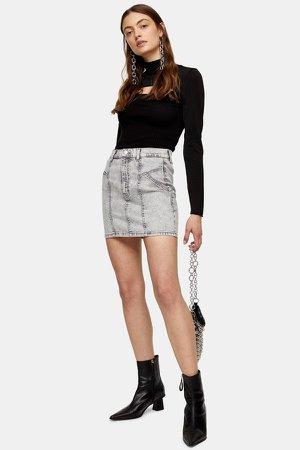 Gray Acid Denim Stretch Mini Skirt
