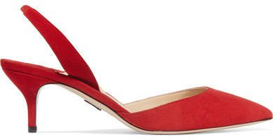 Rhea Suede Slingback Pumps - Red